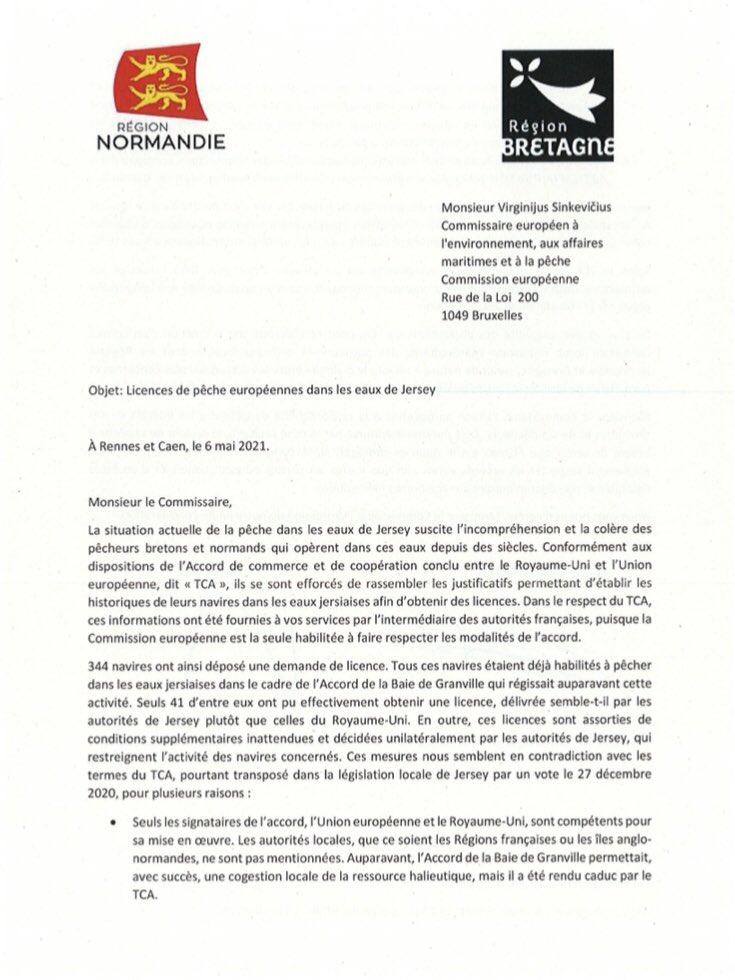 La Région Bretagne et la Région Normandie demandent le respect des dispositions de l'Accord de Commerce et de Coopération